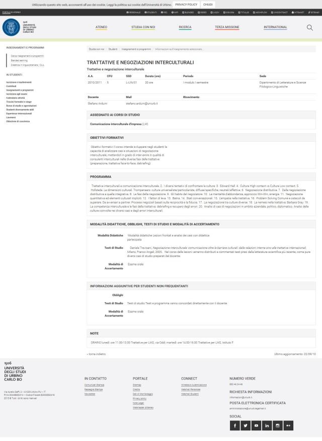 comunicazione interculturale adozione volume Negoziazione Interculturale Università di Urbino