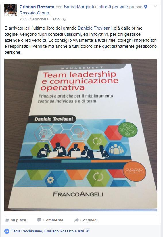 attestazione stima Cristian Rossato libro Team Leadership 2